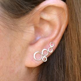 Minimalist Jewelry - Sterling Silver Bubble Ear Climbers