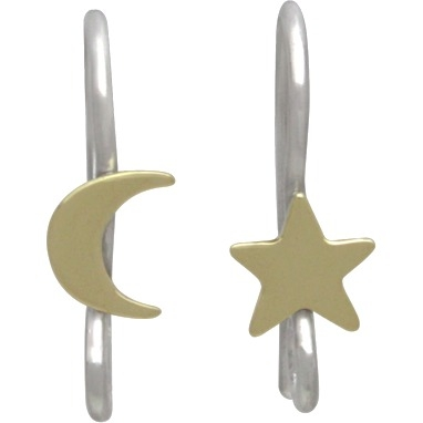 Silver Star and Moon Hook Earring with Bronze 16x5mm