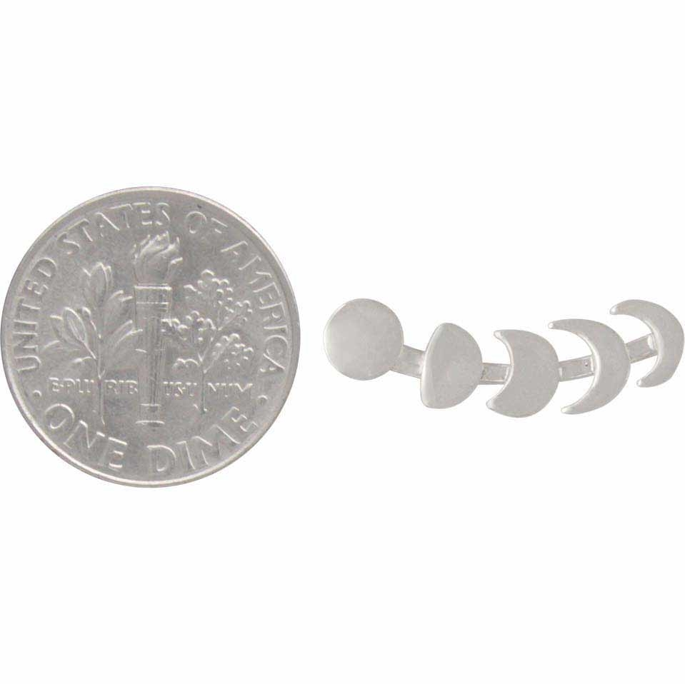 Sterling Silver Moon Phases Ear Climber 22x5mm