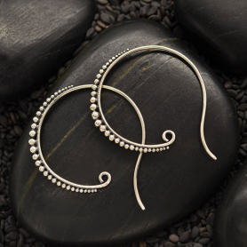 Sterling Silver Large Hoop Earring Hooks with Granulation