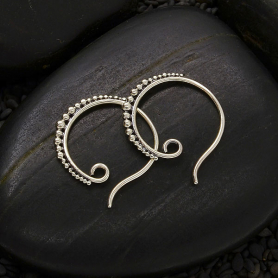 Sterling Silver Small Hoop Earring Hook with Granulation