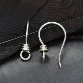 Silver Earring Hook With Front Facing Loop and Wire Wraps