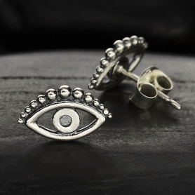 Sterling Silver Evil Eye Post Earring