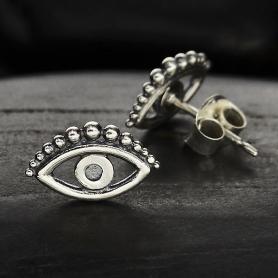 Sterling Silver Evil Eye Post Earring 6x10mm