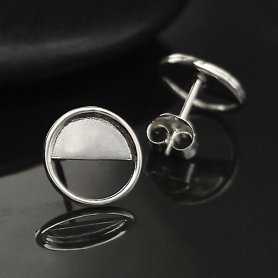 Sterling Silver Half Moon Post Earrings