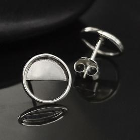 Sterling Silver Half Moon Post Earrings 10x10mm