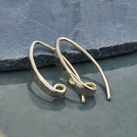 Sterling Silver Hammered Ear Wire with Hidden Loop -18mm