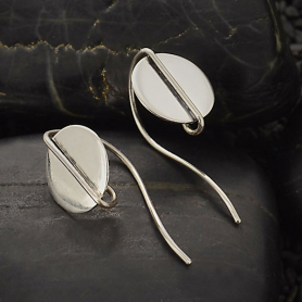 Sterling Silver Circle Earring Hook with Center Wire 25x11mm