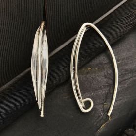 Sterling Silver Earring Hook with Long Almond Shape 22x4mm