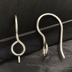 Silver Simple Earring Hook with Front Facing Loop 17x5mm