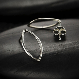 Sterling Silver Marquis Post Earrings 15x8mm