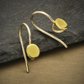 Sterling Silver Ear Hook with Bronze Dot 17x5mm