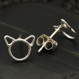 Sterling Silver Cat Head Post Earrings 7x8mm