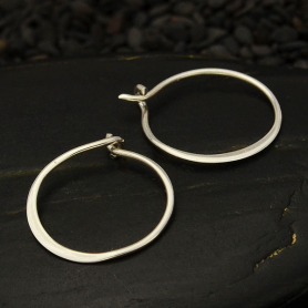 Sterling Silver Half Hammered Circle Hoop Earrings -15mm