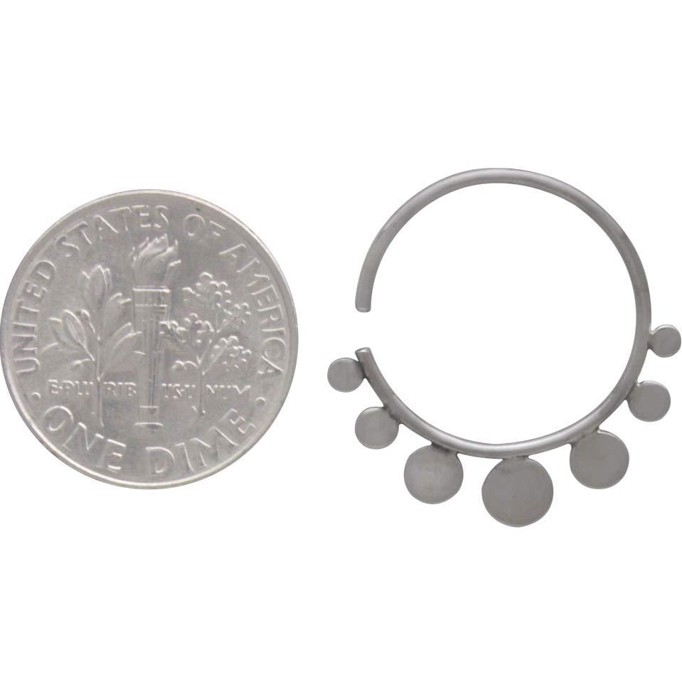 Sterling Silver Hoop Earrings with Flat Circles