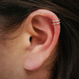 Sterling Silver Small Double Ear Cuffs -9mm