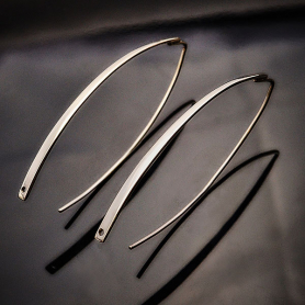Sterling Silver Long Marquis Hook Earrings with Hole 45x17mm