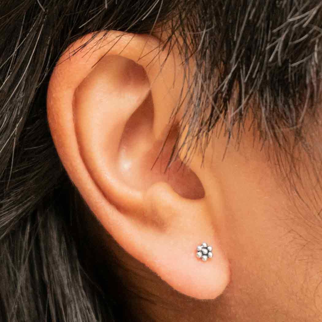 Sterling Silver Granulated Flower Post Earrings 4x4mm
