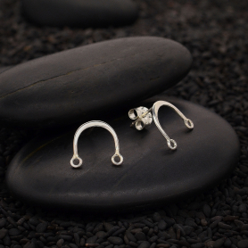 Sterling Silver Arch Bar Post Earrings 10x11mm
