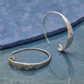 Sterling Silver Hoop Ear Wire with Hammered Front 26x5mm