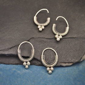 Sterling Silver Coiled Hoop Earrings with Three Dots 21x14mm