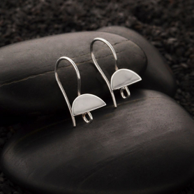 Sterling Silver Half Moon Ear Hooks with Loop 20x11mm