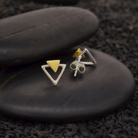 Sterling Silver Triangle Post Earrings with Bronze 9x9mm
