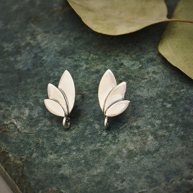 Sterling Silver Three Petal Post Earrings with Loop 15x9mm
