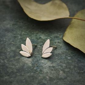 Sterling Silver Three Petal Post Earrings 9x6mm