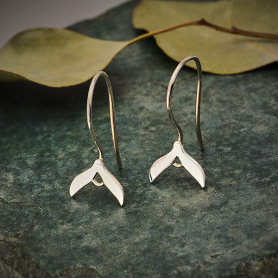 Sterling Silver Ear Wire with Sprout Motif 21x10mm
