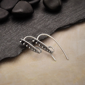 Sterling Silver Teardrop Earwires with Granulation 26x4mm