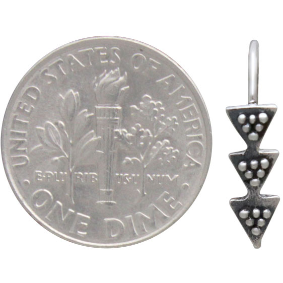Sterling Silver Ear Hooks with Stacked Triangles 19x4mm