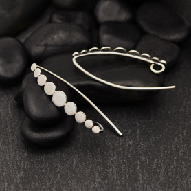 Sterling Silver Ear Hooks with Flat Graduated Dots 31x4mm
