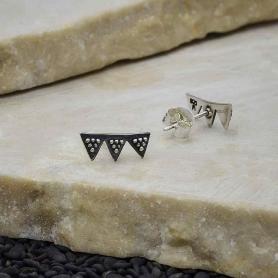 Sterling Silver Triple Triangle Post Earrings 5x11mm