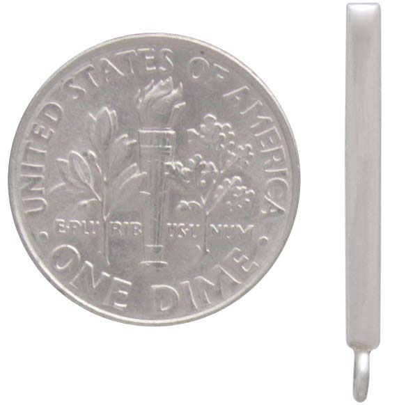 Sterling Silver Bar Post Earring with Loop 23x2mm