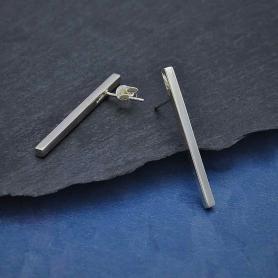 Sterling Silver Long Bar Post Earring 30x2mm