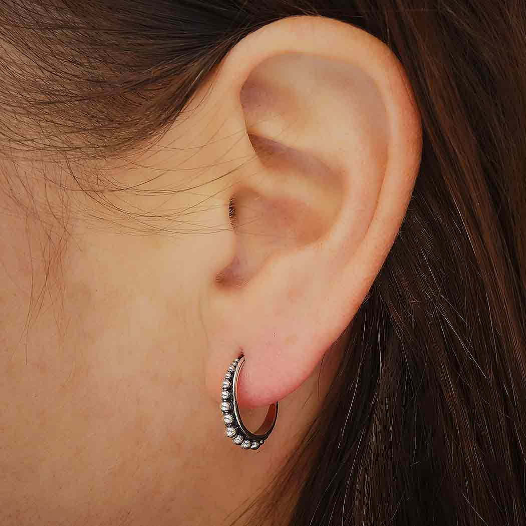 Silver Hoop Post Earring with Channel Set Granulation 15mm