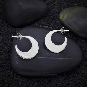 Sterling Silver Moon Post Hoop Earring 17mm