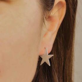 Sterling Silver Star Post Hoop Earrings 17mm