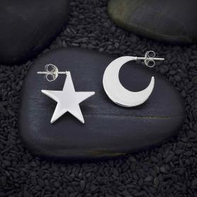 Sterling Silver Star and Moon Post Hoop Earrings 17mm