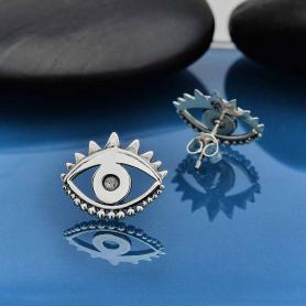 Sterling Silver Large Stylized Eye Post Earrings 13x16mm