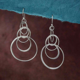 Sterling Silver Seven Floating Circle Earrings 61x30mm