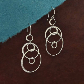 Sterling Silver Six Floating Circles Earrings 50x25mm