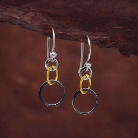 Small Mixed Metal Three Graduated Circle Earrings 30x10mm