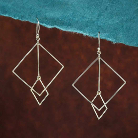Sterling Silver Floating Square and Bar Earrings 65x40mm