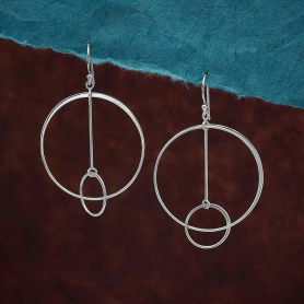 Sterling Silver Floating Circle and Bar Earrings 58x36m