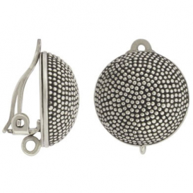 Sterling Silver Clip On Earring with Carpet Granulation