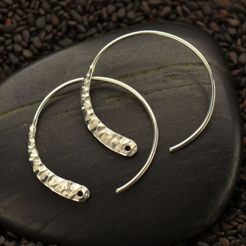Sterling Silver Hoop Earrings with Hammered Front