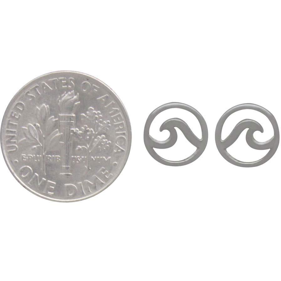 Sterling Silver Wave Post Earrings 8x8mm