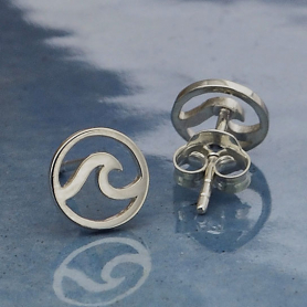 Sterling Silver Wave Post Earrings 8x8mm